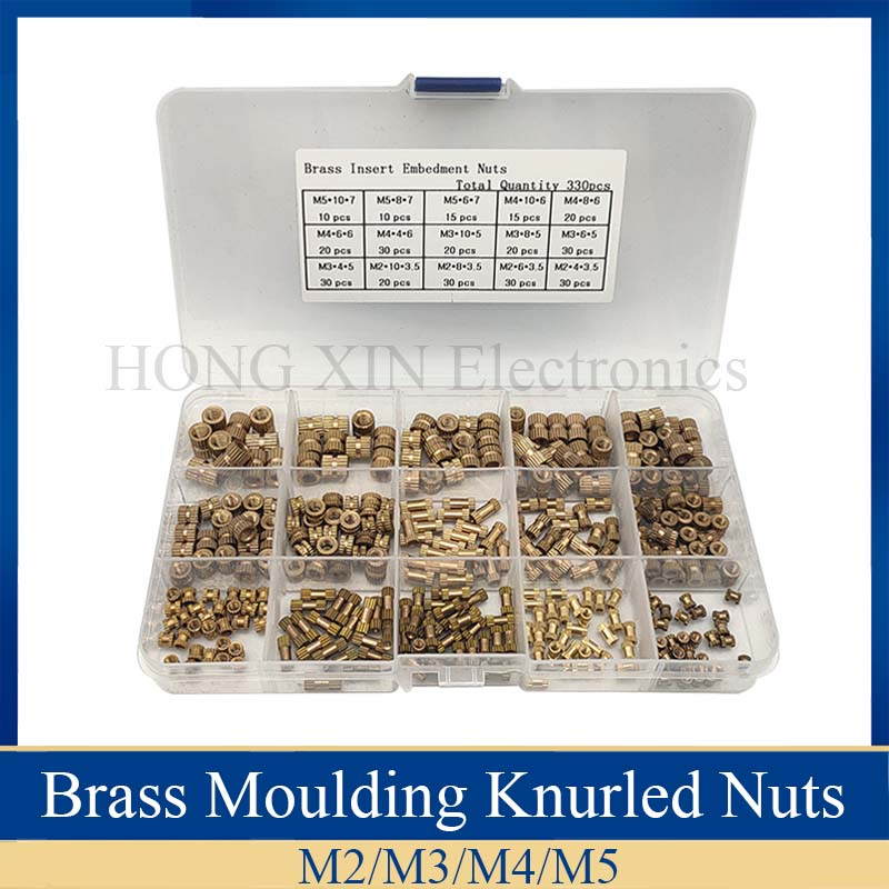330Pcs/set Female Thread Knurled Nuts M2 M3 M4 M5 Brass Threaded Insert Injection Moulding Knurled Nuts   Assortment Kit