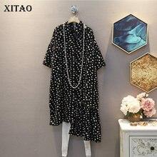 XITAO Irregular Black Dot Elegant Dress Women Clothes 2020 Summer New Fashion Lo