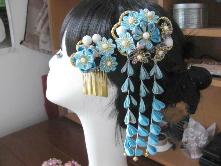 Красивый цветок головной убор цветок из текстиля головной убор сакуры кимоно шпилька классические кисточки юката головной убор синий и розовый - 4
