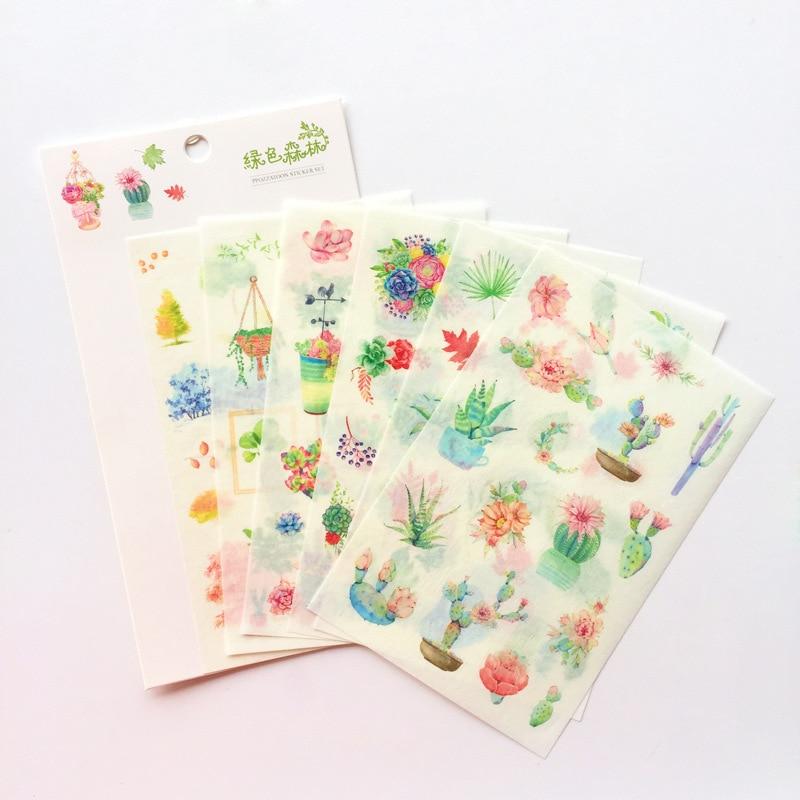 6 Sheet Green Plant Stickers Set Forest Tree Flower Herb Garden Potting Cactus Sticker DIY INS Style Decoration Album Book F410