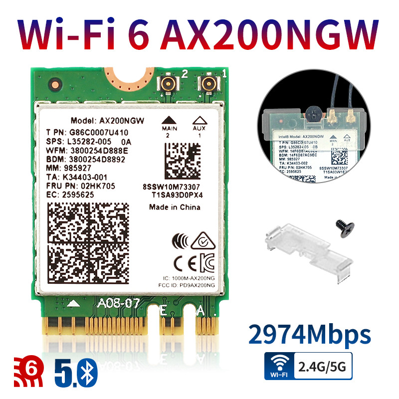 Dual Band Wireless AX200NGW 2.4Gbps 802.11ax Wireless Wi-Fi 6 AX200 For Intel 8265NGW /3168AC M.2 NGFF WiFi Wlan Card