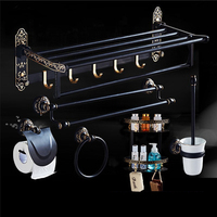 Black antique brushed aluminum bathroom fixture bathtub hardware set towel rack towel bar paper frame cloth hook series