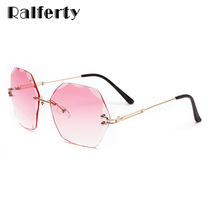 Ralferty 2020 Oversized Sunglasess Women Anti UV Pink Gradient Luxury Crystal Female Sunglasses lunette soleil femme W2338(China)