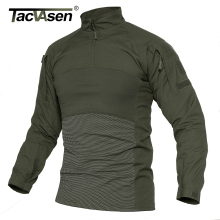TACVASEN Men Tactical T shirts Military Clothing Cotton Long Sleeve Airsoft Army T shirts Male Lightweight Hunt Tops Paintball