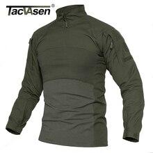 TACVASEN hommes T shirts tactiques vêtements militaires coton à manches longues Airsoft armée T shirts mâle léger chasse hauts Paintball