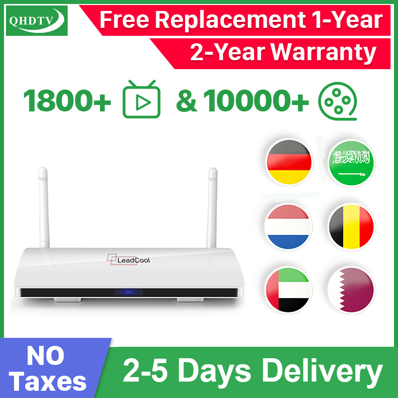 QHDTV Smart IPTV Arabic Nederland Germany Leadcool TV Box Android 9.0 IPTV Spain Belgium Morocco Arabic IP TV No App Included