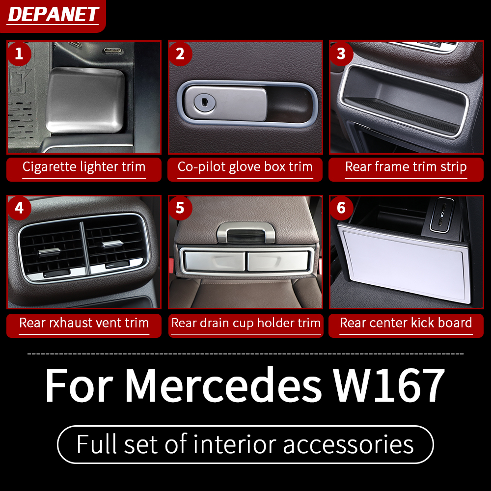 Silver interior accessories for Mercedes GLE W167 350 450 500e gls w167 450 500 550  x167 interior decoration accessories