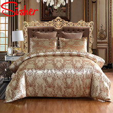 Luxury Jacquard Duvet Cover Set 220x240 Tribute Silk Europe Floral Printed Bedding Set Single Double Queen