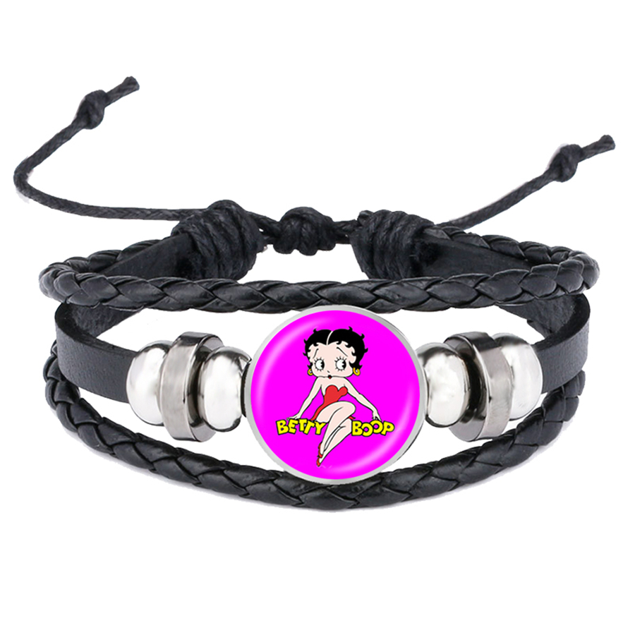 Sexy Betty Boop Bracelet Betty Boop Leather Bracelets Glass Dome Handmade Girls Snap Button Jewelry Valentine'S Day Gift