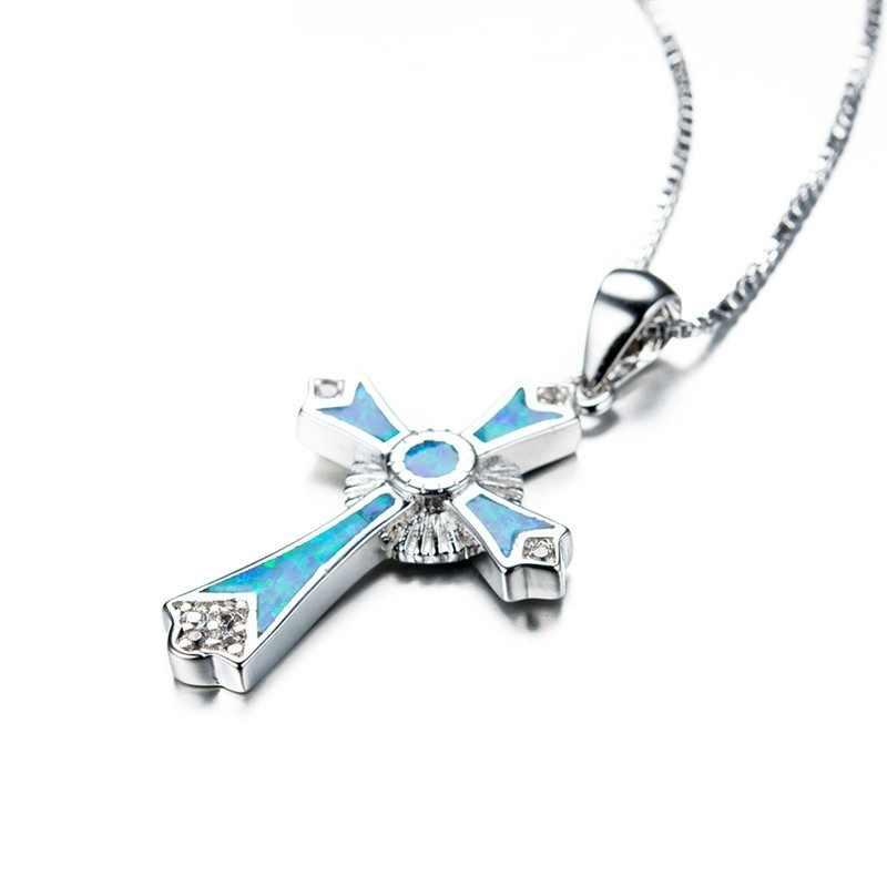 Мужской символ удачи заполненный голубой огненный опал крест подвески ожерелья для мужчин wo Свадебные украшения Рождественский подарок