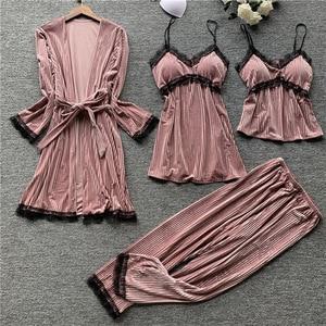 Image 3 - Autumn New 4 Pcs Thickening Velvet Long Sleeve Women Pajamas Lace Sexy With Chest Pad Spaghetti Strap Sleepwear