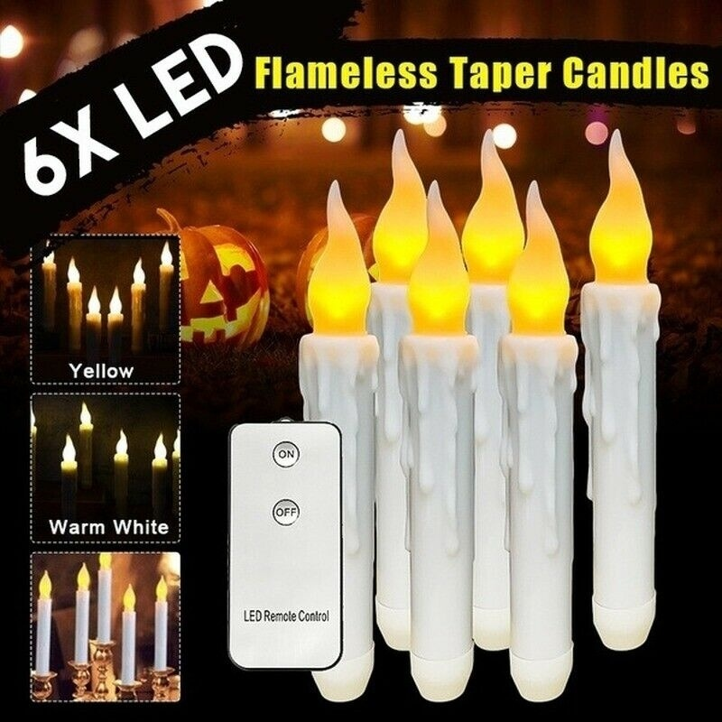 Dreamburgh 6Pcs LED Lamp Flickering Flameless Candle Lights Battery Electronics Candle Lamp Party Home Decor With Remote Control