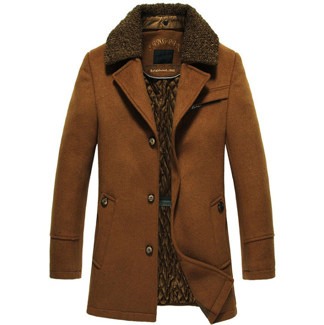 High quality New Winter Wool Coat Slim Fit Jackets Mens Casual Warm Outerwear Jacket and coat Men Pea Coat Size M 4XL