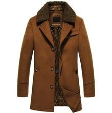 高品質新冬のウールコートスリムフィットジャケットメンズカジュアル暖かい上着ジャケットとコート男性エンドウコートサイズ M 4XL