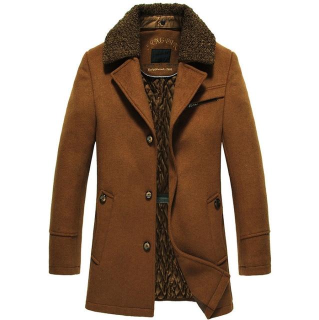 באיכות גבוהה חדש חורף צמר מעיל Slim Fit מעילי Mens מזדמן חם הלבשה עליונה מעיל גברים אפונה מעיל גודל M 4XL