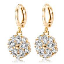 MxGxFam Новые висячие серьги с цветами из циркона для женщин золотого цвета 18 К AAA+ CZ модные ювелирные изделия