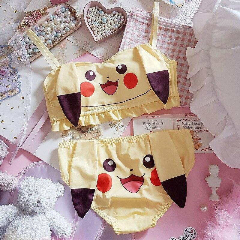 Pokemon Pikachu Cute Printing Lolita Polyester Bra Brassiere Underpants Panties Set Girl's Kawaii Bow Briefs Underwear Outfit