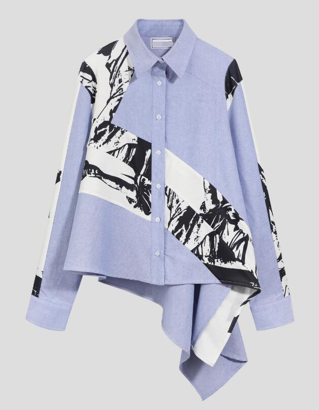 JOYINPARTY 2019 new turn down collar full sleeves inks printed single breasted full sleeves asymmetrical shirt female blouse