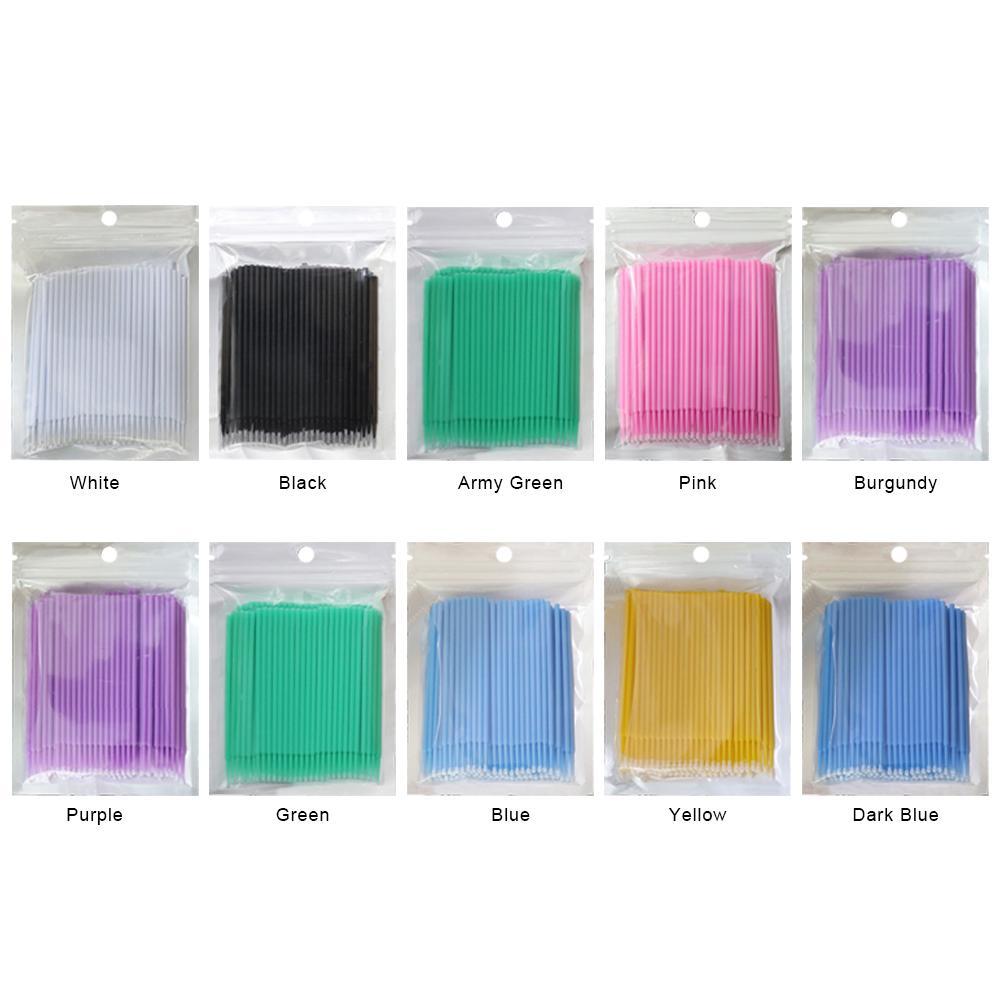 100pcs Disposable Mini Eyelashes Applicator EyeLash Extension Cotton Swabs