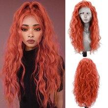 Парик из термостойкого синтетического волокна Charisma, оранжевые передние парики для женщин, длинный волнистый парик для косплея с боковой ча...