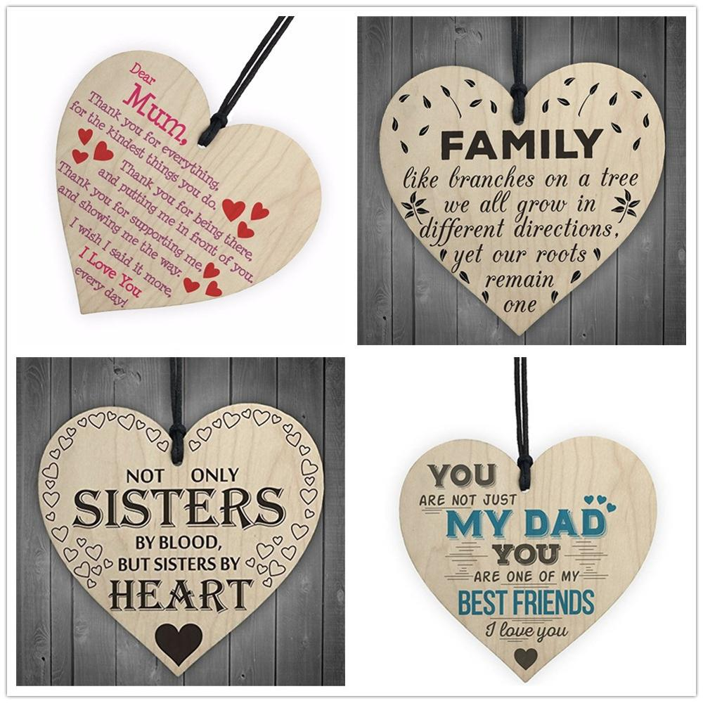 10PCS Family Sisters Dad Mom Wooden Heart-shaped Crafts Christmas Home DIY Tree Decorations Wine Label Small Pendant Accessories-0