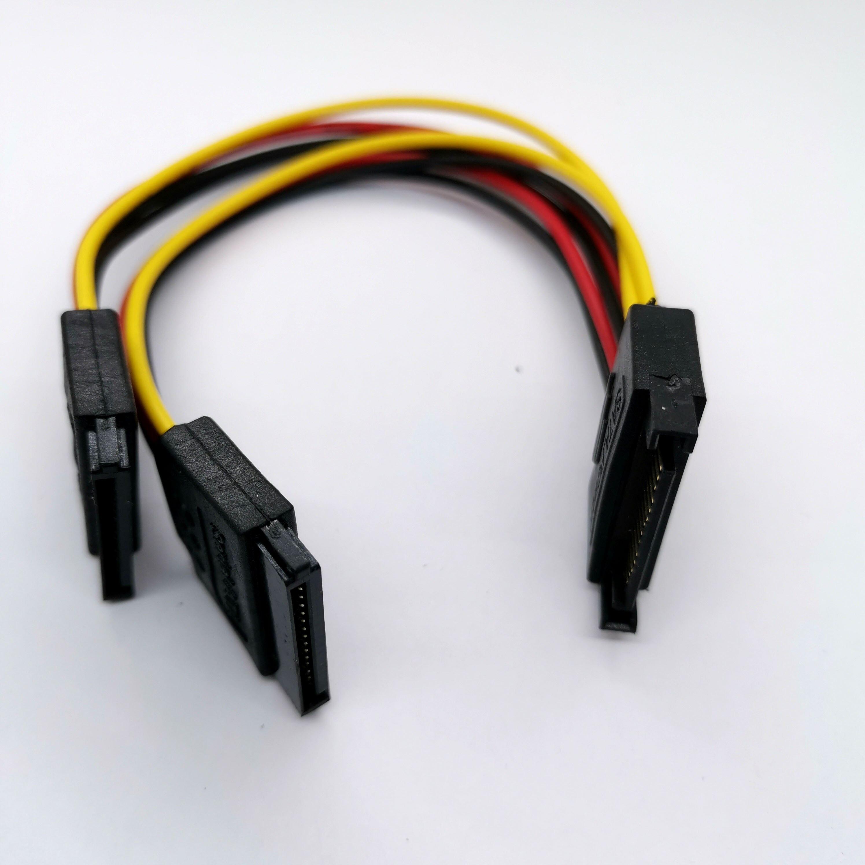 20 см 15 Pin SATA папа к женскому 2x15 Pin 15 P SATA адаптер удлинитель питания кабель 8 дюймов 1 шт.