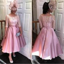 vestido novia Half Sleeves Lace Tea Length Evening Gowns Formal Fashion Wedding Guest 2020  A-Line Mother Of The Bride Dresses