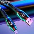 Usams display led usb c cabo 5a tipo de carga rápida c cabo para huawei p10 p20 p30 companheiro 9 10 20 cabo de carregamento inteligente tipo-c fio