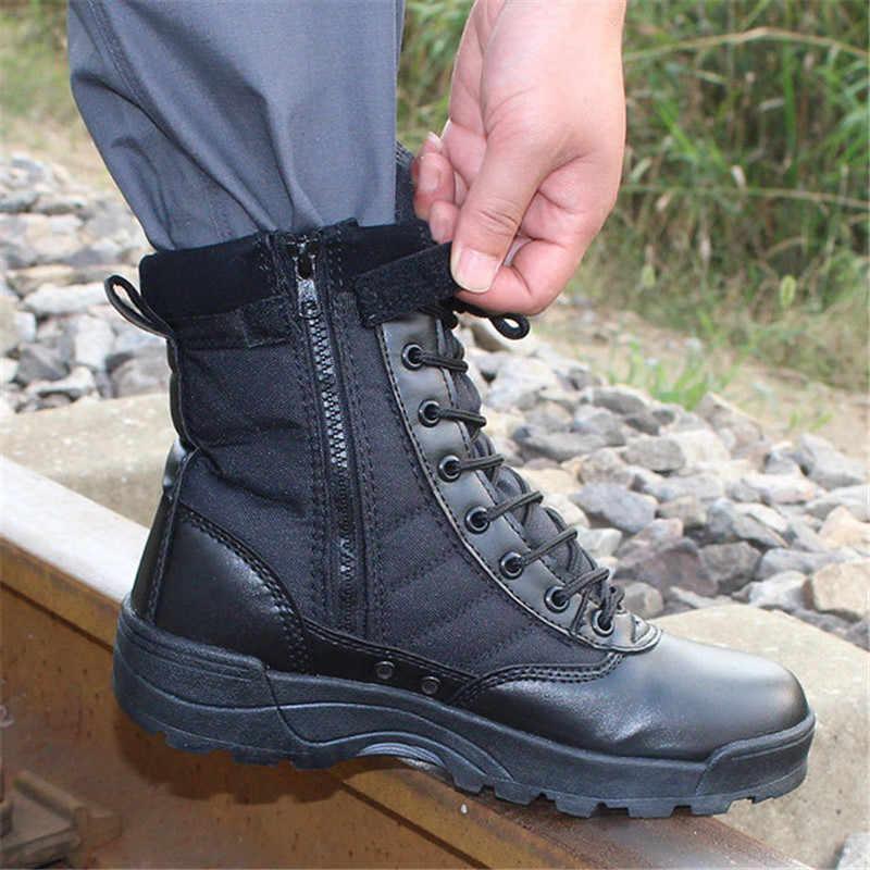 Askeri taktik erkek botları özel kuvvet deri su geçirmez çöl savaş bileğe kadar bot ordu iş ayakkabısı artı boyutu erkek ayakkabi
