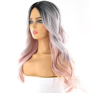 Image 2 - Platin Rosa Ombre Farbe Synthetische Haar Perücken Seite Teil Für Frauen X TRESS Lange Wellenförmige Tiefe Unsichtbare Spitze Teil Perücke Mit pony