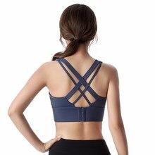 Fitness kobieta duży wpływ biustonosz sportowy Plus rozmiar XXL krzyżowe sznurowania Wirefree regulowana klamra nylonowa bielizna do jogi siłownia biustonosz treningowy