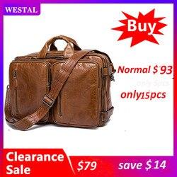 Bolso de negocios WESTAL100 %, maletines para hombres, bolso de cuero para ordenador portátil, bolsas de oficina de cuero genuino para hombres, bolsas de mensajero para ordenador, Tote