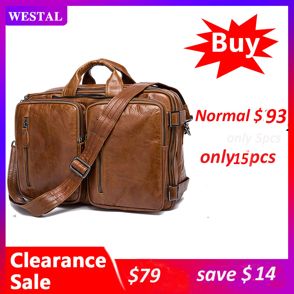 WESTAL100% Business Bag Men Briefcases Leather Laptop Bag Men's Genuine Leather Office Bags For Men Messenger Computer Bags Tote