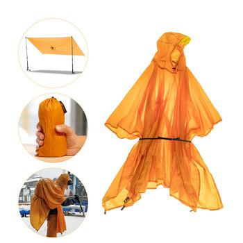 3 w 1 Ultralight piesze wycieczki Poncho płaszcz przeciwdeszczowy plecak wodoodporny plandeka z kapturem polowanie Poncho odkryty Camping mata namiotowa markiza 20D tanie i dobre opinie 1000-1500mm 200cm x 140cm about 163g orange-yellow 20D double Silicone