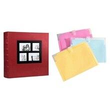 1 Pcs Photo Album Holds 4X6 400 Photos Pages (Red) & 1 Pcs Accordion File Organizer, Filing Folder