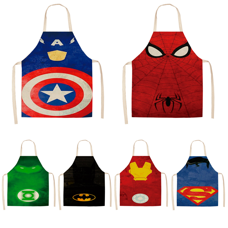 Parent-child Kitchen Apron The Avengers Super Hero Batman  Printed Sleeveless Cotton Linen Aprons For Men Women Home Cleaning