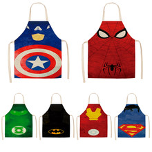 Parent-child Kitchen Apron The Avengers Super hero Batman Printed Sleeveless Cotton Linen Aprons for Men Women Home Cleaning(China)