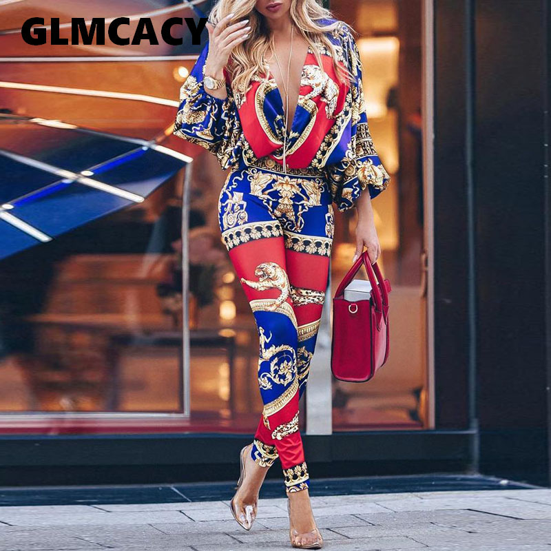 Women Colorblock Exotic Print Lantern Sleeve Jumpsuit Retro Print V Neck   Rompers   Jumpsuit Casual Summer Overalls Chic Streetwear