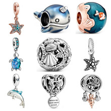 2020 Summer New Glass Turtle Starfish Sea Horse Silver Color Charm Beads Fit Original Brand Bracelets DIY Ocean Series Jewelry(China)