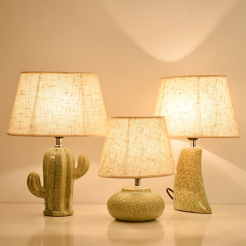 Nordic Cactus <font><b>Ceramic</b></font> <font><b>Base</b></font> Linen <font><b>Lamp</b></font> Shade <font><b>Table</b></font> <font><b>Lamp</b></font> American Living Room Studio Warm Led Bedroom Headlamp image