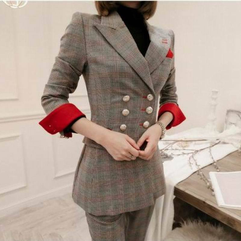 High Quality Autumn And Winter Professional Ladies Suits Of Long Pants Suit 2019 New Double-breasted Plaid Suit Jacket Female
