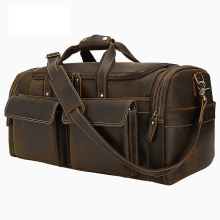 MAHEU New Design Genuine Leather Travel Bag Crazy Horse Leather Duffle Bag of Male Man's