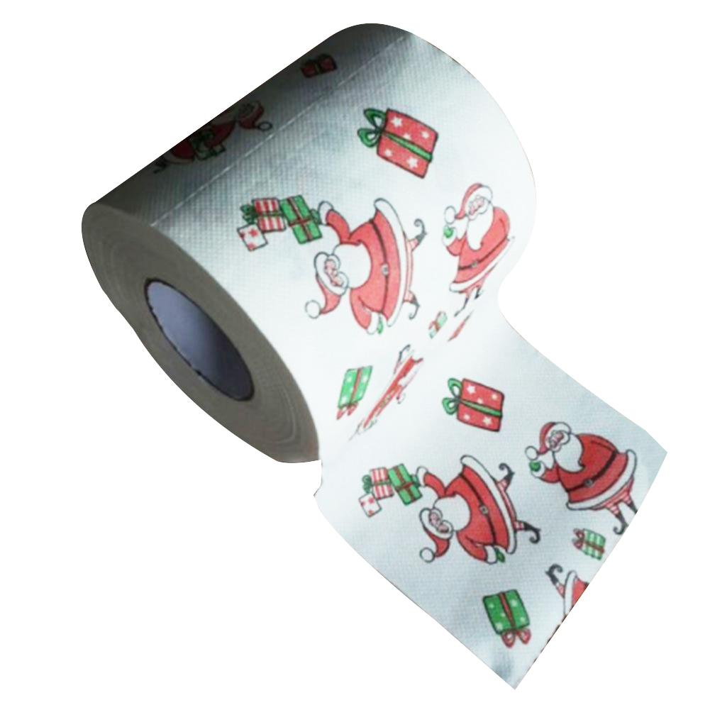2019 New 1 Roll Christmas Santa Claus Gift Box Tissue Toilet Paper Table Party Decoration