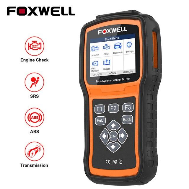 FOXWELL NT604 OBD 스캐너 코드 리더 엔진 검사 검사 도구 ABS SRS 전송 도구 자동 4 시스템 진단 무료 업데이트