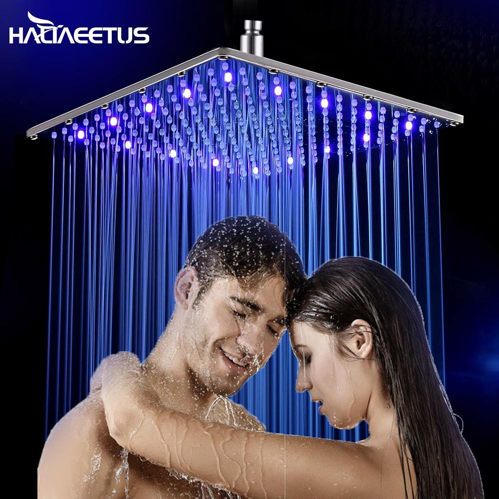 16 inç su yağmur Led duş başlığı olmadan banyo 3 renk Led duş başlığı Chuveiro Led su güç