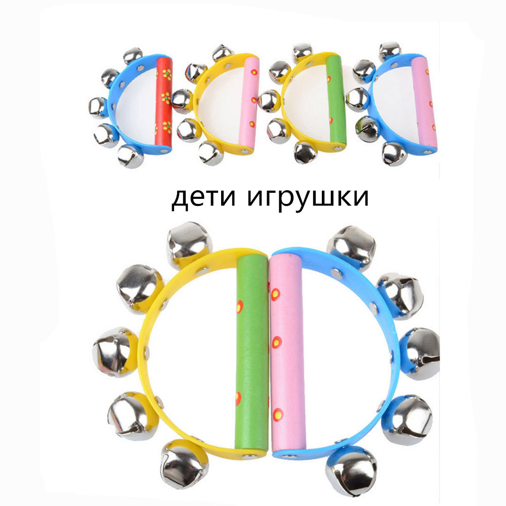 Toys For Children Baby Rainbow Musical Instrument Toy Wooden Jingle Ring Handbell Rattle Kids Toys Baby Toys Juguetes Para Ninos