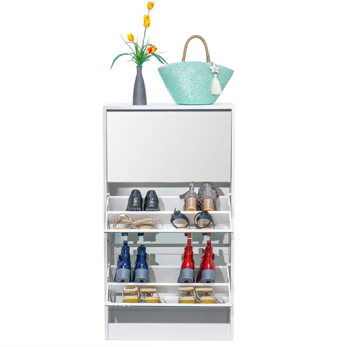 Flip Bucket Shoe Simple Home Space Multi-Layer Door Dustproof Porch Solid Wood Shoe Rack Shoes Cabinet Mirror