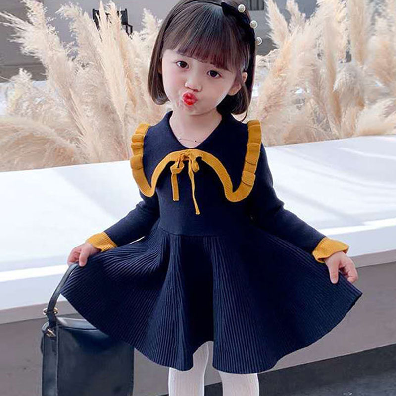 Long Sleeve Sweater Dress Girls Princess Baby Girl Clothes Sweet Party Dresses Christmas Children Clothing Kids Girl Clothed