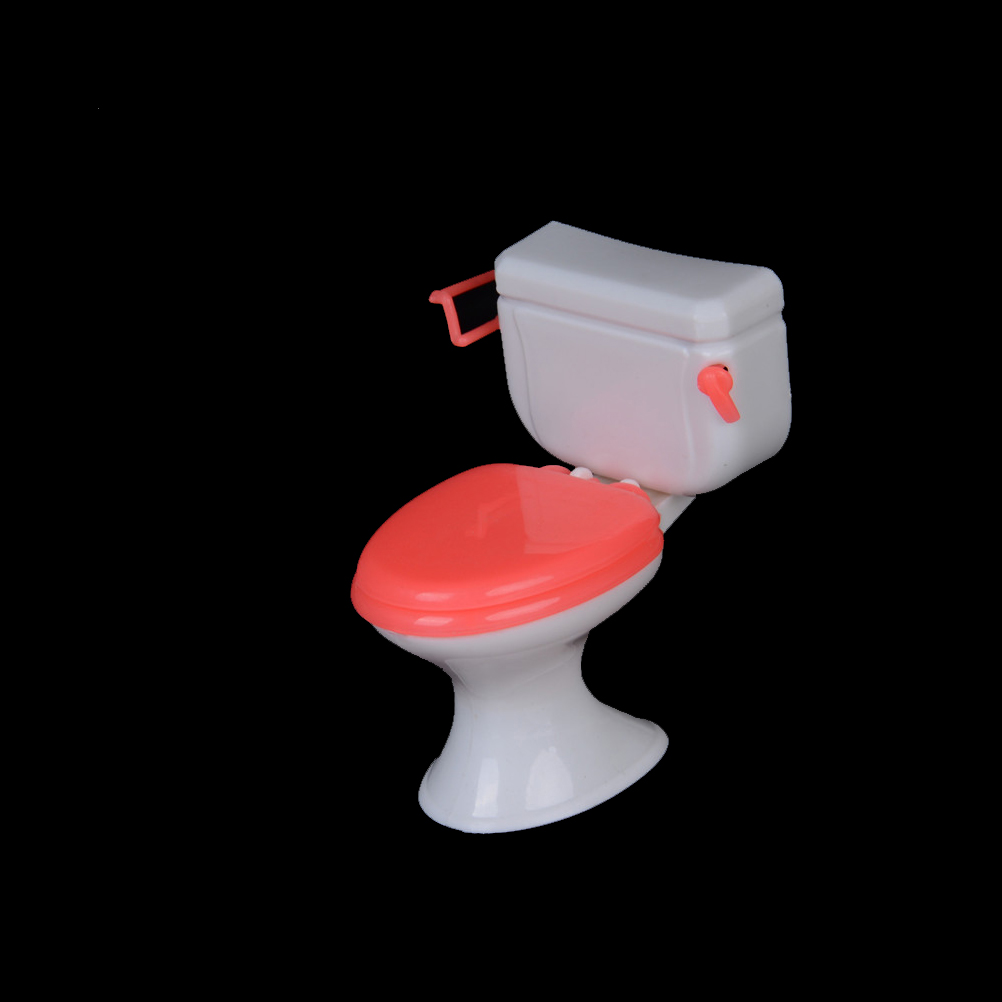 Hot 1pcs Plastic Toilet Doll Toys Bathroom Home Furniture Princess Ocean Behalf Tool Doll Accessories