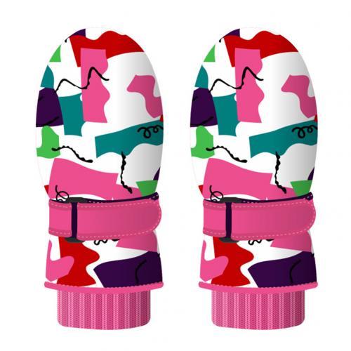 Детские зимние теплые перчатки с милым рисунком, детские лыжные перчатки для сноуборда, спортивные перчатки, варежки, водонепроницаемые ветрозащитные перчатки для катания на лыжах - Цвет: Multicolor
